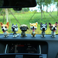 لطيف هز رأسه كلب جرو التماثيل الراتنج السيارات السيارات لوحة الحلي اللعب الهدايا تأثيث المنزل الديكور السيارات التصميم