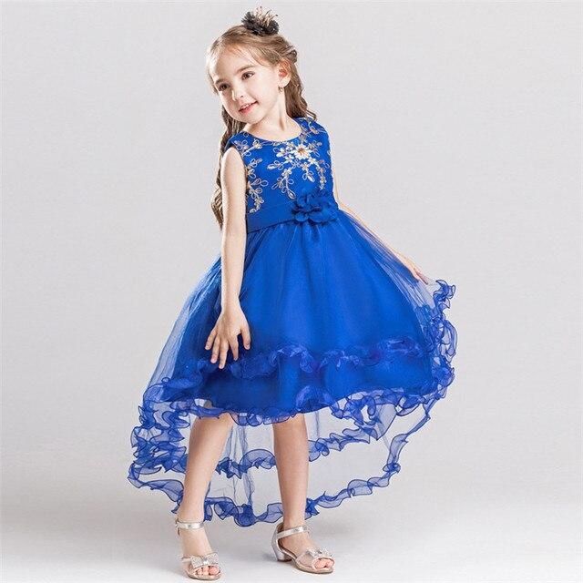 Fashion Girls Sleeveless Princess Wedding Trailing Dress Children Mesh Flower  Girl Vestido For Kids Trailing Party Prom Dresses 6998e814d82d