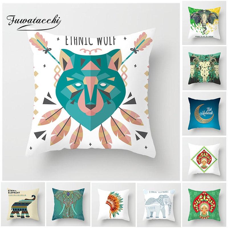 Fuwatacchi Style indien housse de coussin éléphant léopard imprimé taie d'oreiller pour la maison canapé chaise décorative taie d'oreiller carrée