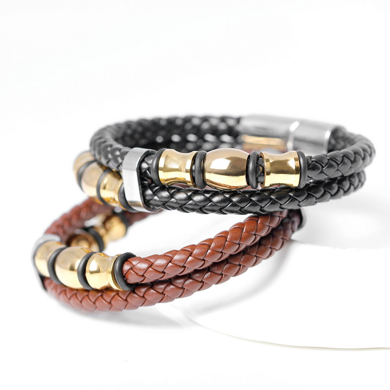 2017 Top Fashion Brand Genuine Leather Men S Bracelets Por Knight Courage Stainless Steel Charm In From Jewelry