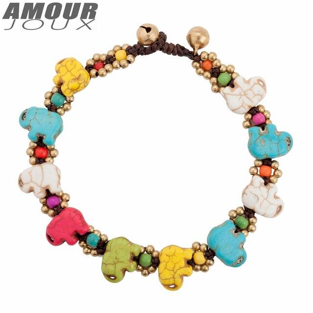 Amourjoux этнические красочные ножные браслеты для женщин браслет