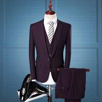 Niceness 2019 leisure men's three piece suit /fashion high grade male slim fit business blazers(jacket + vest + trousers)