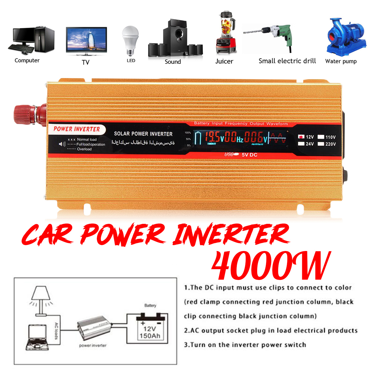 12/24V To AC 220/110V USB Modified Sine Wave Converter PEAK 4000W Car Power Inverter Voltage Transformer for Various Appliances peak 4000w 12 24v to ac 220 110v car power inverter usb modified sine wave converter voltage transformer for various appliances