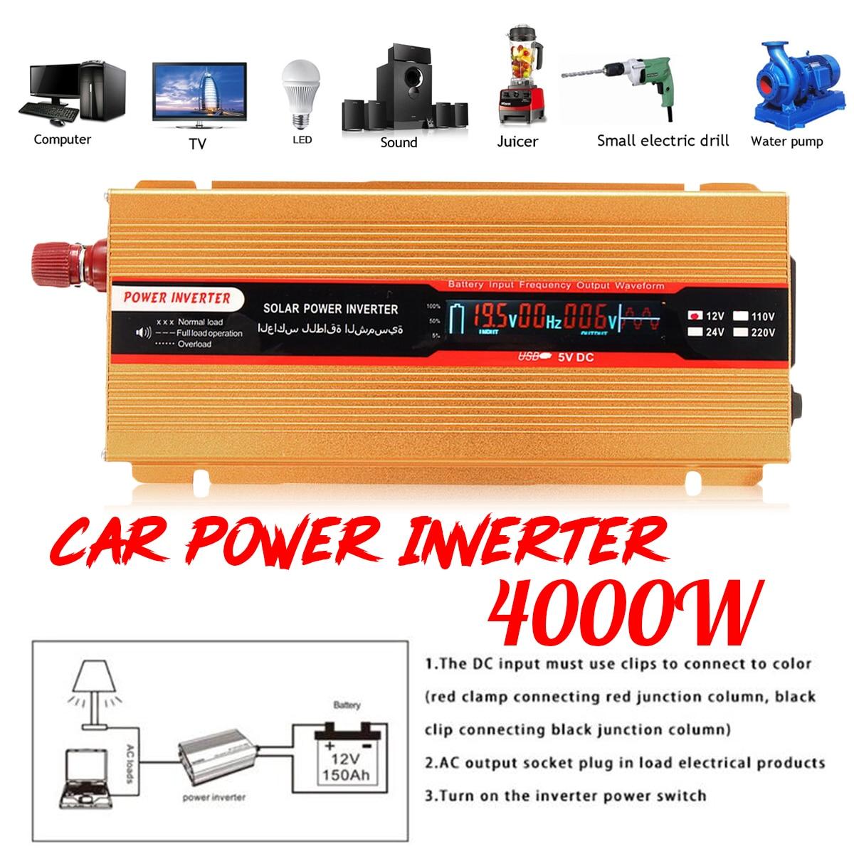 12/24V To AC 220/110V USB Modified Sine Wave Converter PEAK 4000W Car Power Inverter Voltage Transformer for Various Appliances peak 5000w 12 24v to ac 220 110v car power inverter usb modified sine wave converter voltage transformer for various appliances