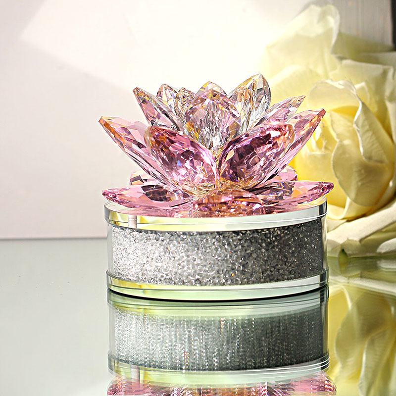 H&D Xmas Gift Crystal Sparkle Lotus Flower Ornament with Gift Box for Home Decoration,Wedding Favors,Car Office Table Decorative-in Figurines & Miniatures from Home & Garden    2
