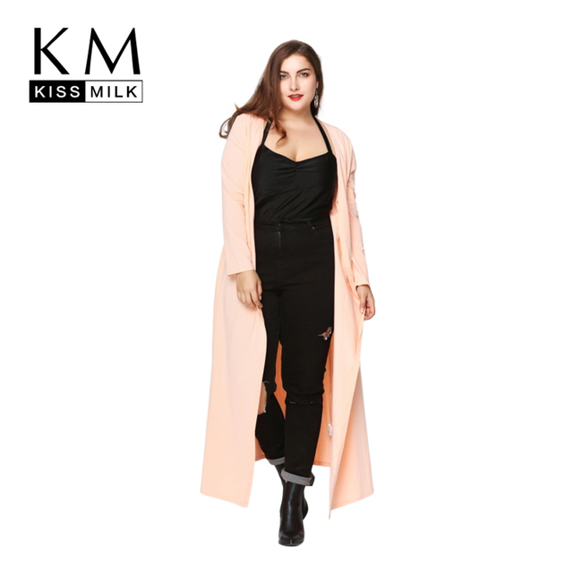 Kissmilk Plus Size New Fashion Women Clothing Solid Casual Knitted Big Size Coat Streetwear Loose Long Thin Coat 3XL 4XL 5XL 6XL