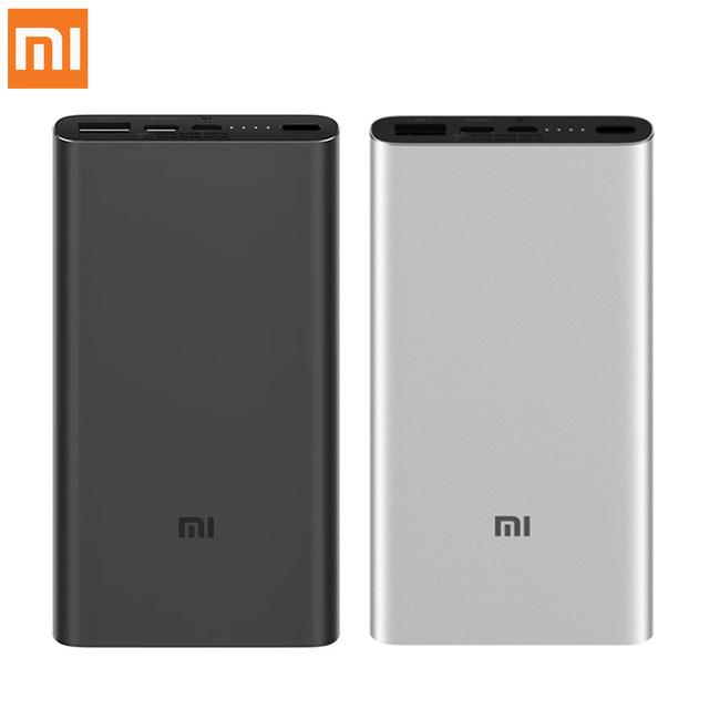 Xiaomi Mi 10000mAh Power Bank 3 External Battery Pack Portable Charging Powerbank Two-way Quick Charge USB-C PLM12ZM For Phones