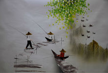 Hand Painted Oil Painting on Canvas Vietnam Landscape Fishing Painting Canvas Painting Modern Wall Art Pictures for Living Room claude monet oil painting on canvas landscape painting lotus painting wall pictures for living room hight quality hand painted