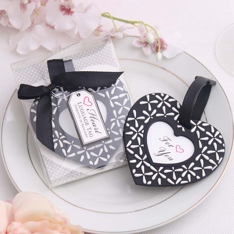 100pcs/lot PVC Heart Airplane Luggage Tag Favor Travel Suitcase Baggage Label Wedding Favour For Guests Party Gift ZA4454