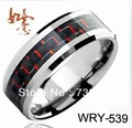 Free Shipping  Made of Tungsten Carbide Inlay Red and  Black Carbon Fiber  Fashionable Wedding Ring