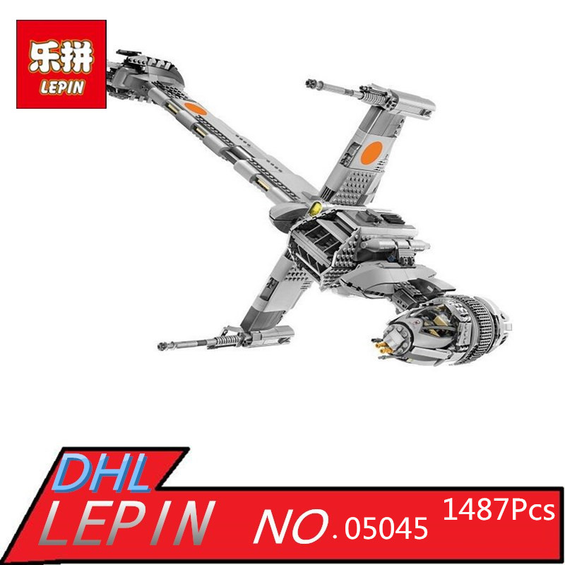 Lepin 05045 New 1487Pcs Genuine Star Series Wars The B Set Wing Starfighter Building Blocks Bricks Toys 10227 for gift lepin 05040 star wars y wing attack starfighter model building kits blocks brick toys compatiable with lego kid gift set