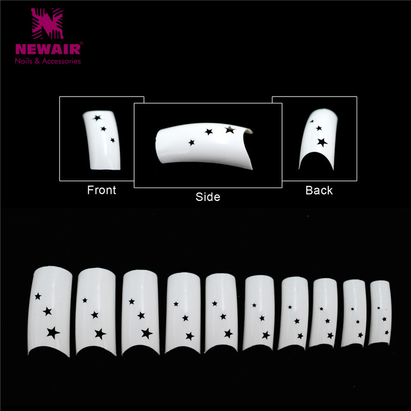 500pcs Fake Nails French Nail Art Tips Star Hollow Long False Nails ABS Artificial Nails Professional Manicure Tips Hot Sale