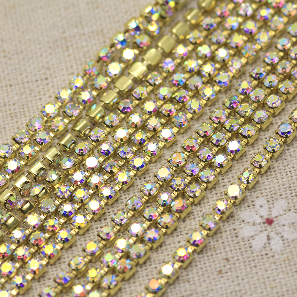 Single-row Strass Glass Crystal Rhinestones Claw Cup Chain Trims DIY