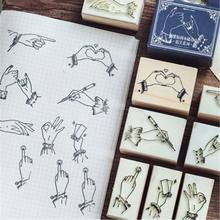 1pc Creative Gesture Wood Stamps Kawaii Child Stamps Toys Children's Print DIY Scrapbooking Diary Notebook Planner Decorations(China)