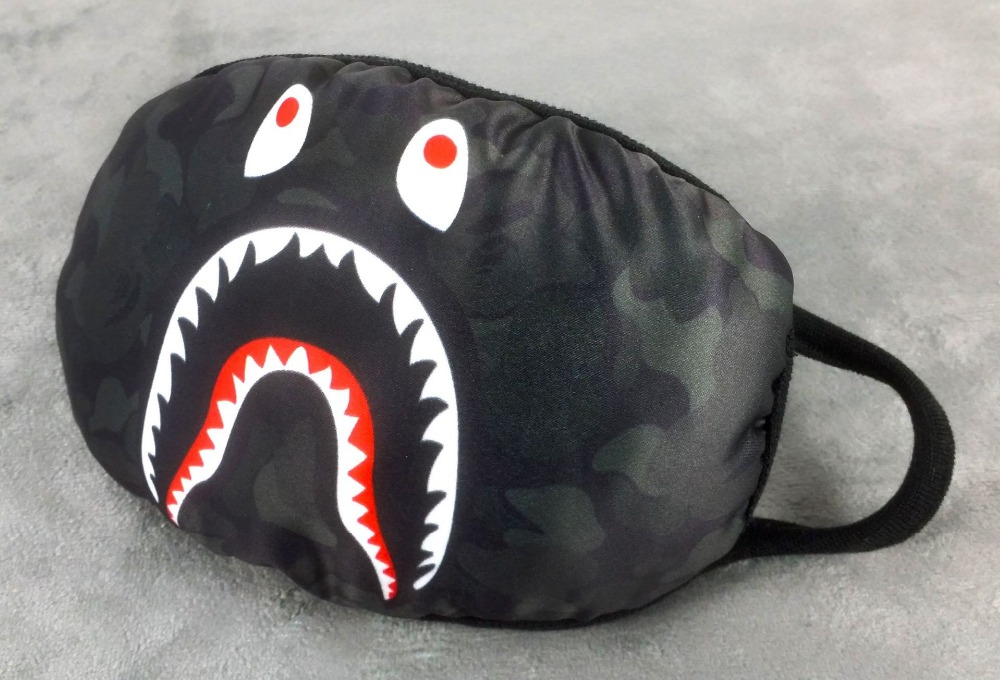 1pcs 19cm adult camouflage shark mouse bape masks black cool fashion crowd bape mask handsome personality ...