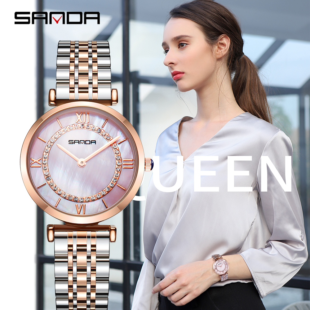 Sanda Watch Ladies Waterproof Rose Gold Steel With Diamonds Mother-of-pearl Dial Starry Quartz Woman Wristwatch Relogio Feminino