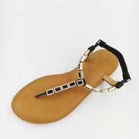 2017 Thong Flat Sandals Flip Flop Shoes Gold Black Cowhide Genuine Leather Summer Flat Shoes