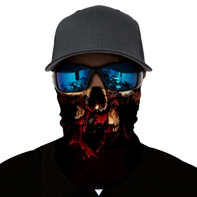Bike Half Face Mask Skull Breathable Anti-UV3D Aniaml Dog Tiger Windproof Cycling Face Mask Neck Bicycle Snowboard Ski Balaclava