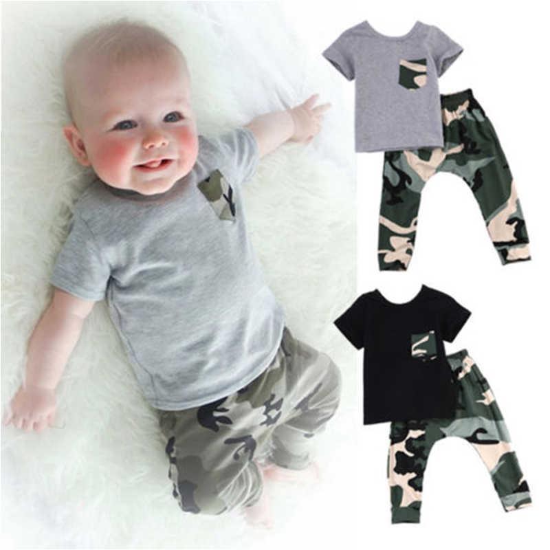 חדש תינוקות קיץ קצר שרוול חולצת טי חולצות + הסוואה מכנסיים 2 pcs תלבושת יילוד תינוק ילדים בני תלבושות בגדי בגדים סטים