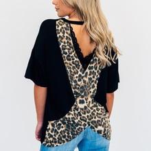Women Tops Summer Short Sleeves O Neck Fashion Backless Shirt  Leopard Print Loose Basic Tees