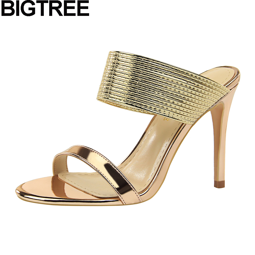 BIGTREE Sexy Classic Pumps Women Slides Strappy Mules Metallic Glossy Leather High Heel Sandals Stilettos Wedding Bridal Shoes metallic strappy flat sandals