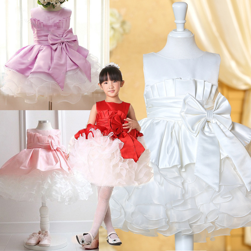 2016 new size 2-7 Bow princess kids summer clothes baby girls frocks lovely dress fashion childen dress for kids girlsTQ8040