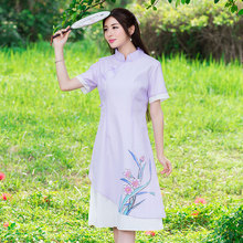 New 2017 Fashion China Style Flower Print Short Sleeve Comfortable Cotton Linen Casual Dress Women Summer Dresses