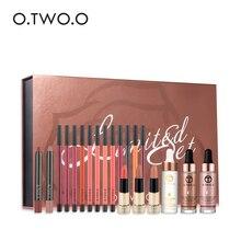 20PCS/Box 24k Rose Gold Elixir Skin Make Up Oil + Lip Liner Lips Pencil Liquid Highlighter Makeup Set Christmas Gift  LS02