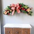 60 см Европейская Рождественская елка сосновые иглы и большой бант ягодные рога трость используется для двери и окна украшения подарки