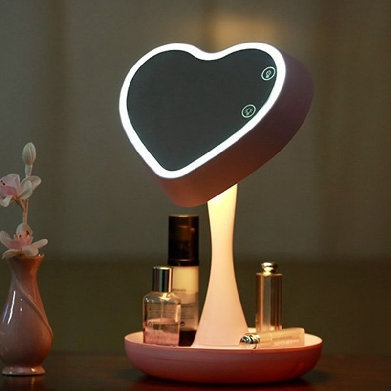 Table Lamp with Night Light Vanity Mirror with Light Storage LED Lamp for Make Up Portable Design Free Shipping 1pc makeup mirror night light storage led light make up cosmetic table lamp with bluetooth speaker hands free for lady gift a187
