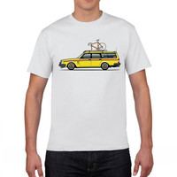 GILDAN Funny Volvo Yellow Slammed Biking Wagon Men Natural Cotton Car Short Sleeved Clothing Personalized Men