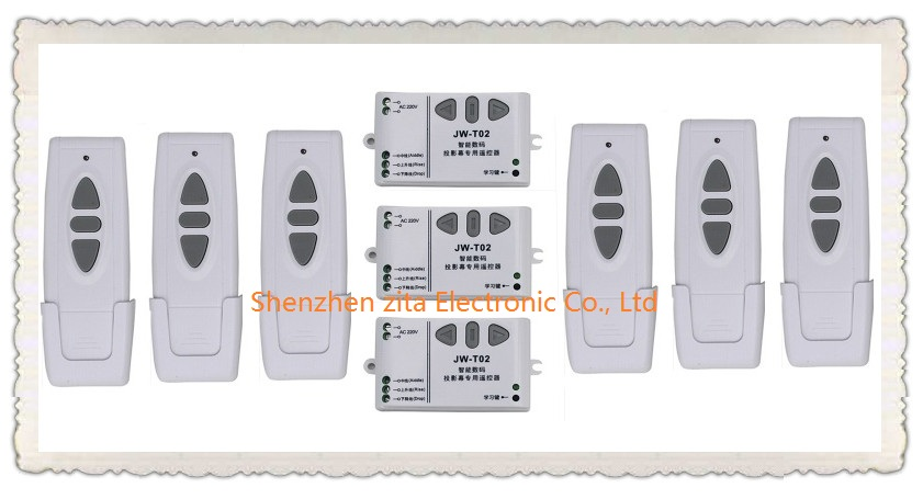 ФОТО Ac 220 v intelligent digital RF wireless remote control switch system for projection screen 6*transmitter + 3* receiver