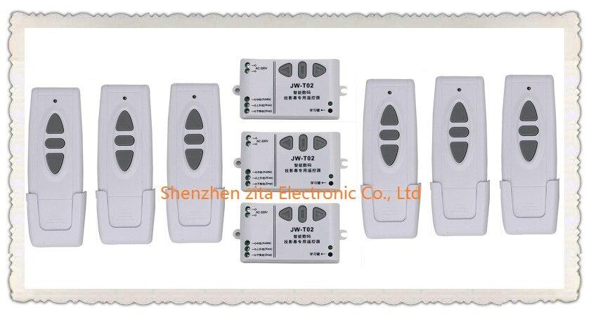 Système de commutation de télécommande sans fil RF numérique intelligent Ac 220 v pour écran de projection 6 * transmetteur + 3 * récepteur