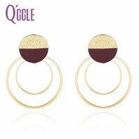 QGGLE Nuevo Doble Círculos Cuelga Los Pendientes para Las Mujeres Ronda Negro/Cuero Rojo Color de Oro Pendiente de Gota de La Joyería de Moda de Navidad