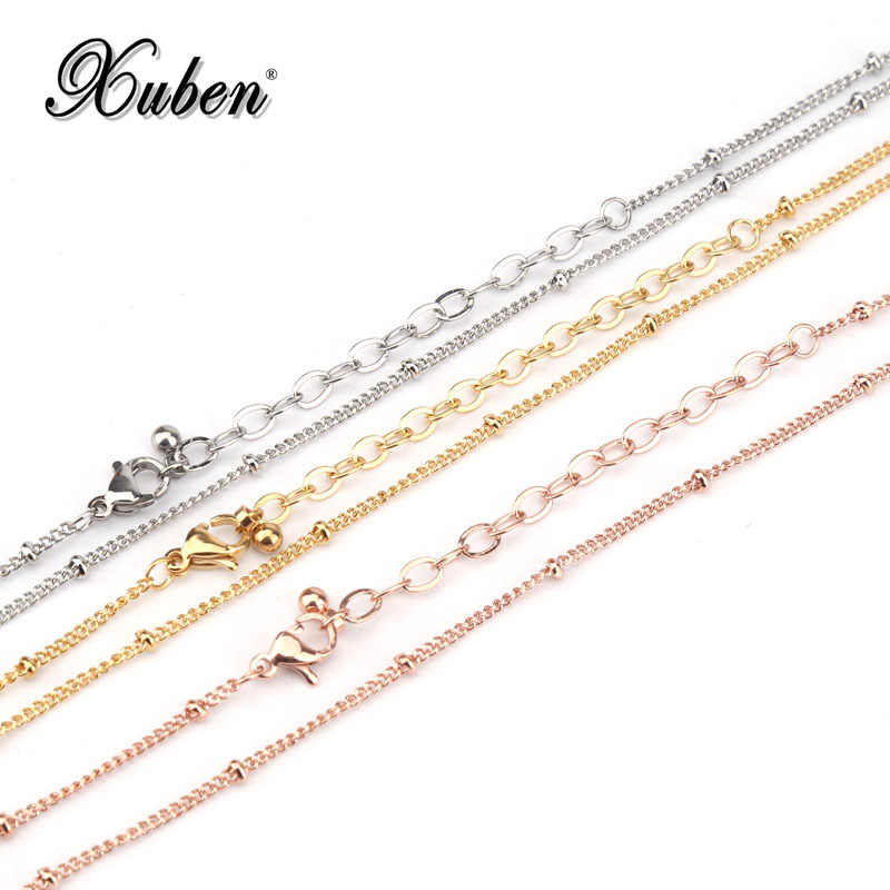 316 L Stainless Steel Chain Necklace Width 1.2 mm Length 50/80 cm Round Link beads O style Chain  Jewelry Wholesale