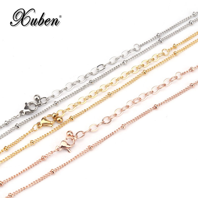 316 L Stainless Steel Chain Necklace Width 1.2 mm Length 50/80 cm Round Link bea