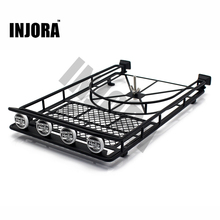 Black/Silver/Red Metal Roof Rack with 4LED Lights for 1:10 RC Rock Crawler SCX10 II 90046 90047 Cherokee SCX10 D90