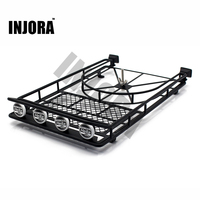 Black Silver Red Metal Roof Rack With 4LED Lights For 1 10 RC Rock Crawler SCX10