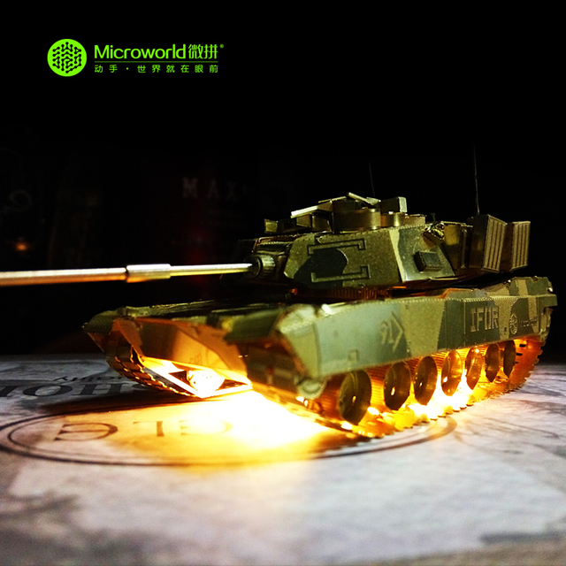 Original Microworld M1 ABRAMS TANK PUZZLE 2 sheets 3D Metal assembly model Military war Classic collection Creative toy gift