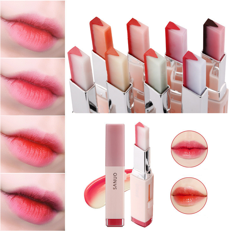 Fashion Korean Bite Lipstick V Cutting Two Tone Tint Silky Moisturzing Nourishing Lipsticks Balm Lip Cosmetic Makeup