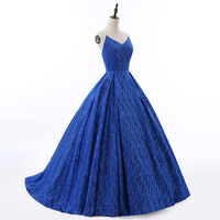 Royal Blue Wedding Dresses 2017 Real Picture Ball Gown Floor Length Chapel Train Dress Lace Crystal