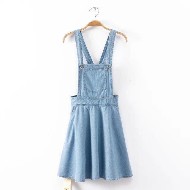 denim salopette jurk