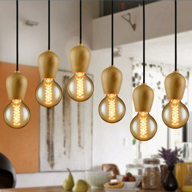 Modern Wood Pendant Lights Home Lighting Electric Cord Hanging Lamp