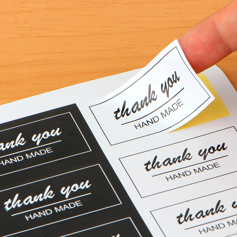 80pcs/10sheet Thank You Label Stickers black white Label Sticker Diameter For Diy Hand Made For Gift Cake Sealing Hang Tag candy color lace label 80pcs lot 4 5cm vintage stickers kraft sticker diy hand made for gift cake baking sealing hang tag