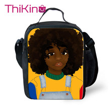 Thikin Fashion Traditional African Art women Lunch Bags for Girls Portable Cooler Box Cartoon Pattern Tote Picnic Pouch