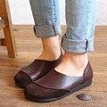 2016 Первоначально ручной работы натуральная кожа женщина плоские туфли 2016 женщины мягкие удобные отдых кожаные плоские туфли