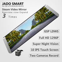 JADO D800 Car Dvr Steaming Rearview Mirror GPS ADAS 10 IPS Touch Screen Full HD 1296P