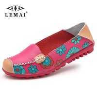 LEMAI Women Casual Shoes Female Genuine Leather Printing Loafers Footwear Plus Size 41 42 43 44