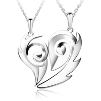 Around 925 silver lovers necklace a pair of heart pendant day gift