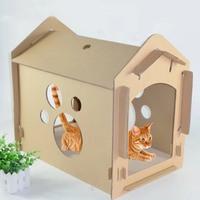 DIY Small Cat Litter Box Bedroom Recyclable Cardboard Cat Scratch Board Carton Box Supplies D1